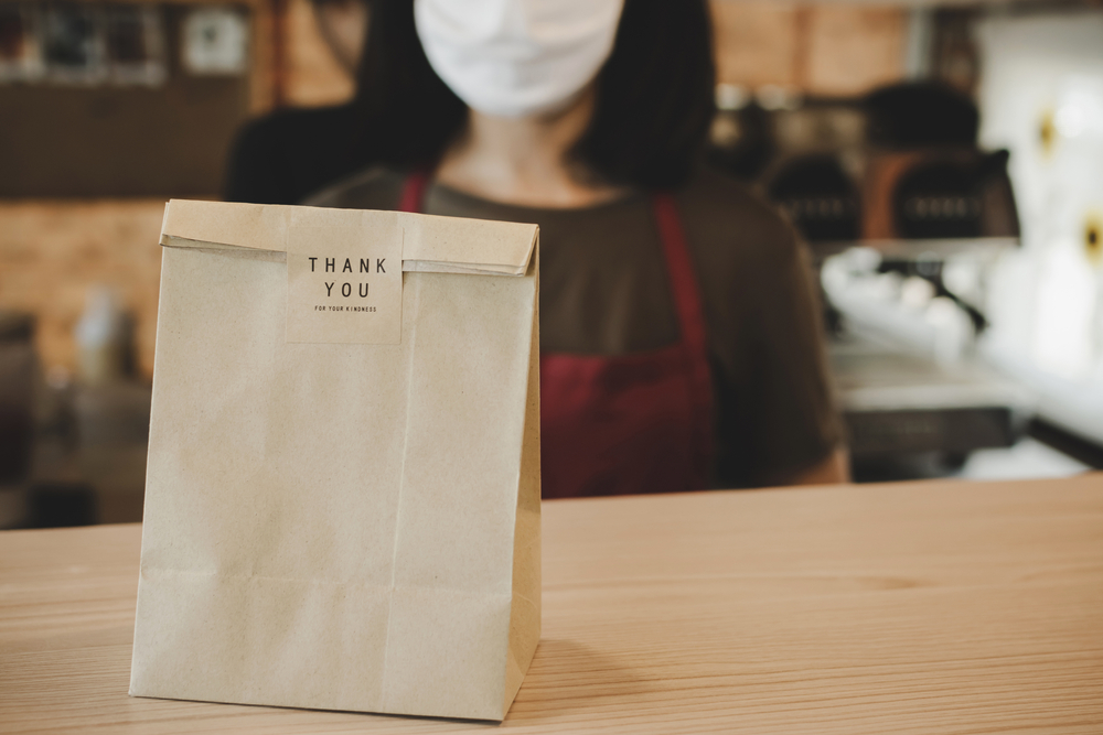 Food delivery bag with thank you sticker