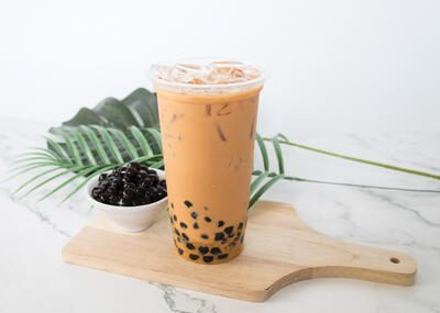 Bubble tea with black tapioca pearls